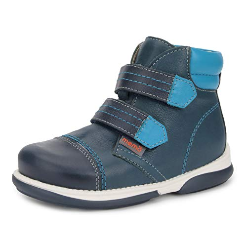 Memo Alex Boys' Corrective Orthopedic High-Top Leather Boot Diagnostic Sole, Navy Blue, 27 (10.5 M US Little Kid)