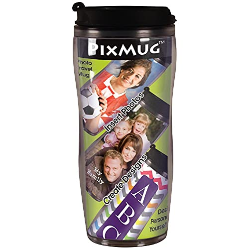 PixMug – 14 oz Photo Travel Mug with Flip Top - The Mug That's a Picture Frame - DIY - Insert Your Own Photos or Create and Print Inserts Online – 1 Pack