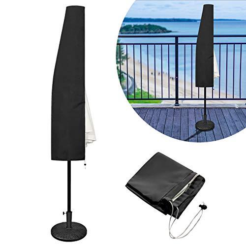 HENGMEI Schutzhülle für Sonnenschirm Abdeckhauben für Ø 300 cm bis 350cm Sonnenschirm Polyester Schutzhülle Ampelschirm mit Reißverschluss, Anthrazit