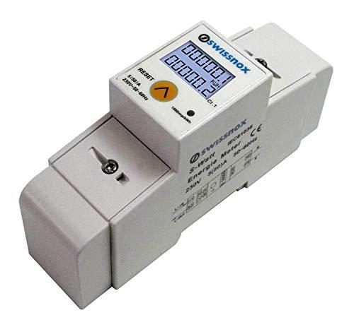 Swissnox SX-1MRP Wechselstromzähler Stromzähler für DIN-Hutschiene Wattmeter verschiedene Wechselmodi S0 Schnittstelle 2000imp/kWh