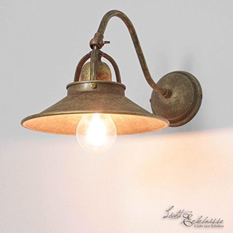 Antike Wandleuchte Country aus Messing Landhaus rustikal verstellbar E27 Wandlampe Wohnzimmer Schlafzimmer
