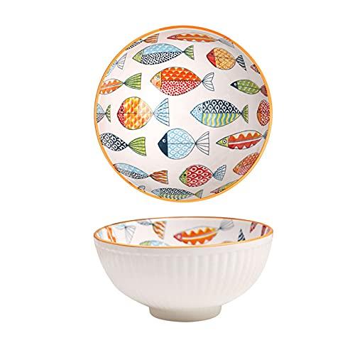 XinLuMing 2Ciotola Ramen Giapponese, Set di Ramen Bowl, Grande Ciotole, Cucina Stoviglie, Melaminico, Insalatiera/Zuppiera/Ciotola di Cereali (Color : Multi-Colored)