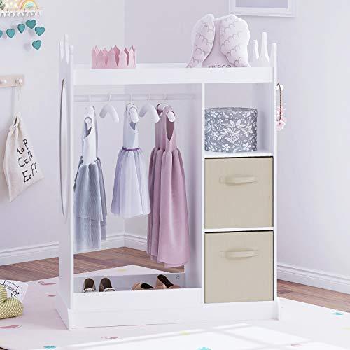UTEX Kids Dress up Storage with Mirror and Storage Bin,Kids Armoire Dresser with Mirror, Costume Closet for Kids, Pretend Storage Closet for Kids,Costume Storage Dresser