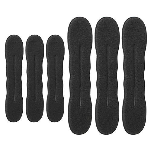 Cortadora de cabello de 6 piezas versión mejorada horquilla pinza de esponja para peinar el cabello donut herramienta de rosquilla de corona giratoria, 3 grandes y 3 pequeños (negro)