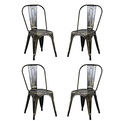 Milani Home s.r.l.s. Set di 4 Sedie in Metallo di Design Moderno Industrial Vintage per Sala da...