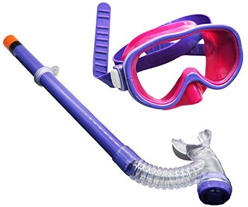 YITU Kids Silicone Scuba Swimming Swim Diving Mask Snorkel Glasses Set Anti Fog Goggles (Purple1)