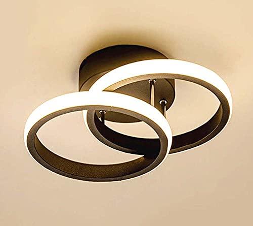 JHYPVII Lámpara De Techo LED Pasillo Moderno Luz De Techo Anillo Plafón Lámpara Corredor Sencillez Metal Estudio Luces Acrílico L24CM 18W/1440lm 3000K (Luz Calida),Negro