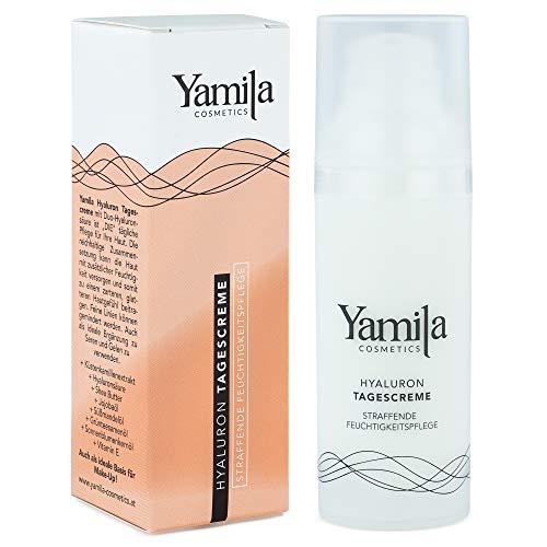 HYALURON TAGESCREME - mit straffender Feuchtigkeitspflege - 50 ml von Yamila Cosmetics - reichhaltige Gesichtscreme für Damen und Herren - Vegan -