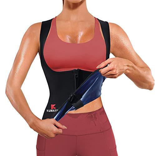 Kumayes Sauna Waist Trainer Vest for Women Weight Loss Sauna Suit Sweat Slimming Body Shaper Workout Tank Tops with Zipper (Blue, X-Large)