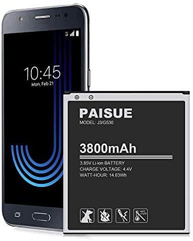 Galaxy J3 Batterie de rechange 3800 mAh pour Samsung Galaxy J3 J320A J320V J320F J320P J327A J327P EB-BG530BBC EB-BG530BBE, Galaxy On5, Galaxy Grand Prime SM-G530