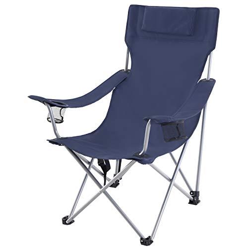 SONGMICS Campingstuhl, Klappstuhl, Outdoor-Stuhl mit Armlehnen, Kopfstütze und Getränkehaltern, stabiles Gestell, bis 150 kg belastbar, dunkelblau GCB09IN