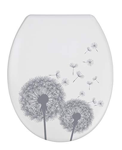 WENKO WC-Sitz Astera, Toilettensitz mit Absenkautomatik, Fix-Clip Hygiene-Befestigung, WC-Deckel aus antibakteriellem Duroplast, Weiß/Grau