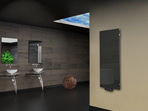 Badheizkörper Design Montevideo 2 (Glas-Front) HxB: 120 x 47 cm, 799 Watt, silber (Marke: Szagato) Made in Germany/Bad und Wohnraum-Heizkörper (Mittelanschluss)