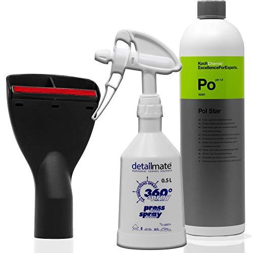FixedByU Boquilla para tapicería, boquilla de 35 mm con quitapelos, 10 cm de ancho, para coche, hogar + Koch Chemie POL-Star 1 L, pulverizador detailmate de 0,5 l (color blanco)