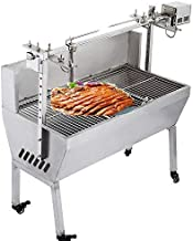 Happybuy Rotisserie Grill Roaster 23W BBQ Pig Lamb Rotisserie Roaster 132lbs or 60KG Stainless Steel Spit Rotisserie Roaster Stand Skewer