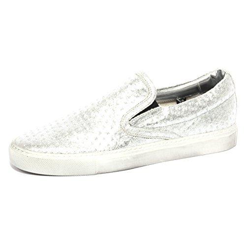 P448 B1095 Sneaker Donna E6 Slipon Scarpa Argento Shoes Women [39]
