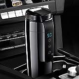 KOSIEJINN 70W Taza calefactora para coche, hervidor de agua portátil para coche con tapa antiderrame, taza de viaje con calefacción de 20 ℃ ~ 90 ℃ para té/leche/café, botella de acero inoxidable 304