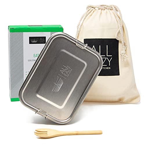 All Eazy Eaty - Fiambrera de acero inoxidable, 1200 ml, con separador extraíble, incluye práctico tenedor, bolsa de algodón natural de alta calidad, sin BPD