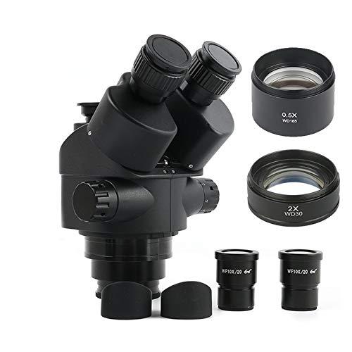 SH-CHEN Black 3.5X-90X 7X-45X Simul-Focal Trinocular Microscope Zoom Stereo Microscope Head +0.5X 2.0X Auxiliary Lens (Color : 3.5X 90x)