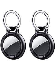 [2-pack] Benazcap hållare fodral för AirTag, skruvspänne och öppen design, hållbar PC hård nyckelring kompatibel med AirTag 2021, Airtags-fodral x 2 med 2 remmar och 2 nyckelring, svart