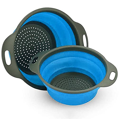 Collapsible Colander, 3 Pcs Silicone Kitchen Strainer for Draining Pasta, Vegetable and Fruit