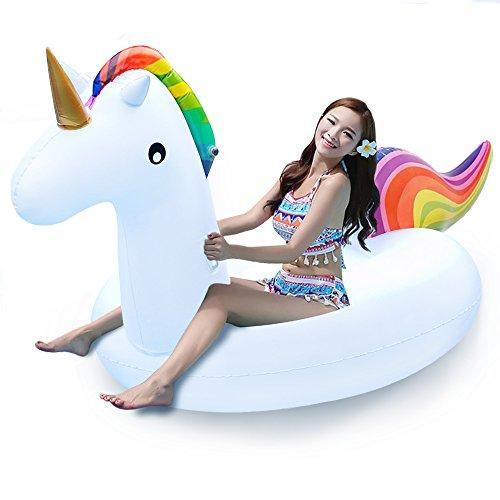 YARD 大きユニコーン浮き輪 200×100×90 プール 水遊び 海水浴 水泳 子供用 大人用 足入れ 強い浮力 大活躍 おもちゃ ボート フロート (ユニコーン)