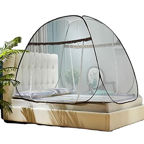 CHENNA Pop Up Mosquito Net Tent con la Parte Inferior, Plegable para el Dormitorio y el Viaje al Aire Libre, los Mejores Agujeros Anti Mosquitos, para una Cama Doble a King Size (Size : 150x200CM)