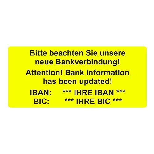 Aufkleber/Etiketten inkl. IHRE IBANBitte beachten Sie unsere neue Bankverbindung! / Bank information has been updated! auf Rolle - 56 x 25 mm - 1.000 Stück (Leuchtgelb)