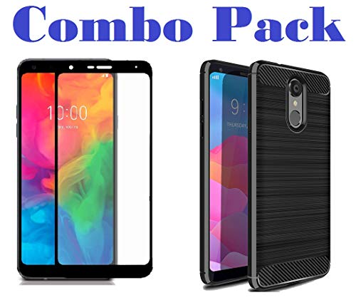 AONIR 5D Tempered Glass with Shockproof Soft Hybrid Cover for LG Q7 / LG Q7a / LG Q7 Plus [Combo Pack]