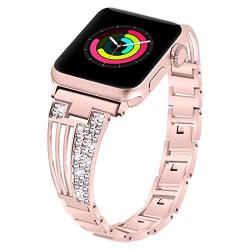 Correa de reloj de diamantes para mujer Apple Watch 44 mm 42 mm 40 mm 38 mm Correa de joyería iwatch Serie 5 4 3 2 1 Pulsera de acero inoxidable