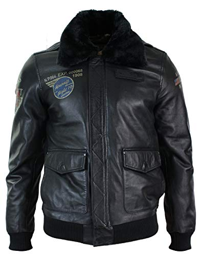 Mens Real Leather Black Aviator Fur Collar Pilot Jacket Slim Fit Bomber - Black, XL