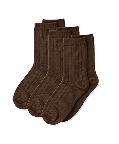 Jefferies Socks Big Boy's Rib Dress Crew Socken (3er Pack) - Braun - Medium
