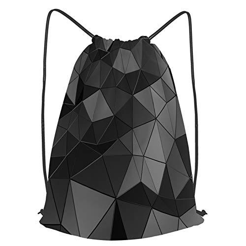 YMWEI Impermeable Bolsa de Cuerdas Saco de Gimnasio Fondo abstracto de la superficie negra de la representación 3d Deporte Mochila para Playa Viaje Natación