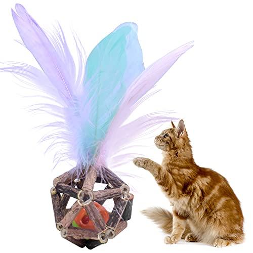 smatime Katzenspielzeug Federn Ball, Katzenspielzeug, Katzenspielzeug Ball mit Glocken, Interaktives Spielzeug für Katzen, Katzenspielzeug Bunte Feder für Katze Haustiere