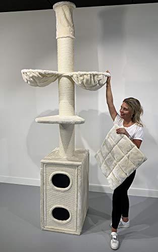 RHRQuality Kratzbaum Große Katze Stabil XXL Cat Tower Box Beige Kratztonne Maine Coon Deckenhöhe mit 20cmØ Stämme. Katzenkratzbaum Speziell für Schwere Katzen Deckenhoch