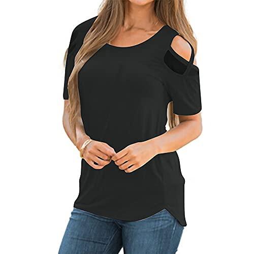 Mayntop Camiseta de verano para mujer de manga corta, con hombros descubiertos, cuello en O, A-negro, 42