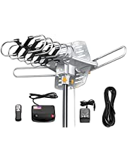 Amplified Digital Outdoor Antenna,HD Digital HDTV Antenna -150 Mile Range-Motorized 360° Rotation-32.8FT Coax Cable-UHF/VHF 4K 1080P Channels-Wireless Remote Control-Snap-On Installation Support 2 TVs
