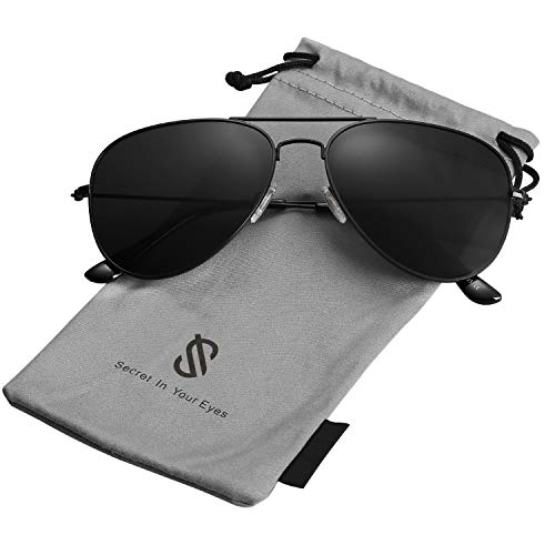 SojoS Classic Aviator Polarized Sunglasses Mirrored UV400 Lens SJ1054 With Black Frame/Grey Lens