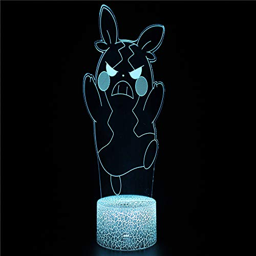 Lightning Wizard 1 3D Illusion Lights Lamp Ice Crack Base LED Table Desk Decor 7 Colors Touch Control USB Powered