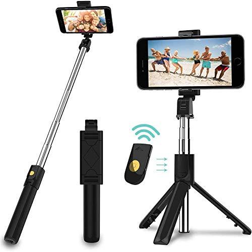 Selfie Stick-statief, uitschuifbare en draagbare monopod met draadloze externe sluiter, lichtgewicht camera voor video-opnamen met smartphone, vlog, selfie