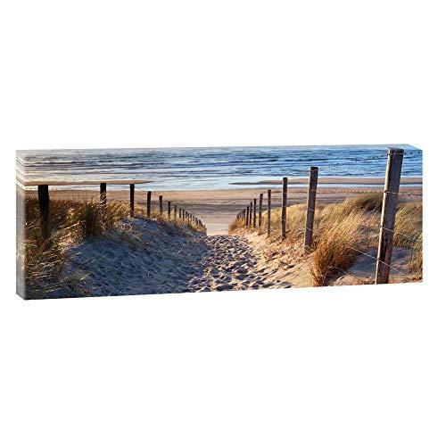 Querfarben Bild auf Leinwand mit Landschaftsmotiv Weg zum Nordseestrand   50 x 150 cm, Farbig, Wandbild, Leinwandbild mit Kunstdruck, Nordseebild mit Strandmotiv auf Holzrahmen gespannt, 50x150 cm