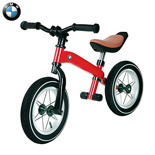 TRYSHA Balance Fiets for 3 Year Old Boy Girl - BMW Echte Kids Balance Bike Childrens Training Bike Standard Bicycle Design- voetensteun Verwijderbaar met verstelbaar stuur en Seat (Rood)