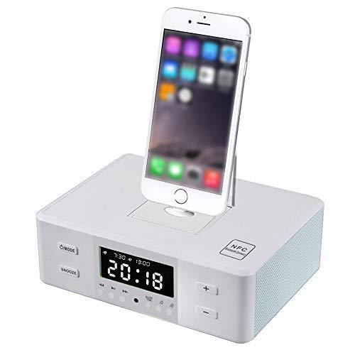 Docking Station Altoparlante Bluetooth senza fili Doppia sveglia Radio FM con stazione di ricarica per qualsiasi iPhone Android iPad ricarica e riproduzione iPod-Bianca