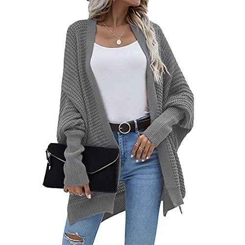 Cárdigan de punto de estilo suelto para mujer, color sólido, manga larga, frente abierto, sudadera con capucha, gris oscuro, XL
