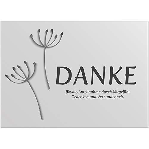 15 x Trauer Danksagungskarten mit Umschlag DIN A6, Motiv Danke für die Anteilnahme, schwarz-weiss Danke Sagen nach Beerdigung