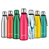 Newdora Botella de Agua Acero Inoxidable 500ml, Aislamiento de Vacío de Doble...