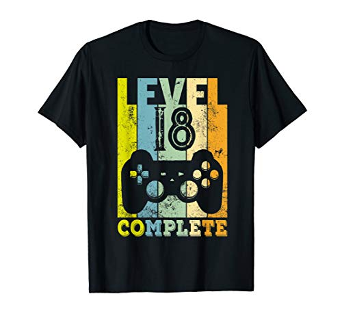 Herren 18. Geburtstag Junge Mann 2002 Level 18 Jahre Deko Geschenk T-Shirt