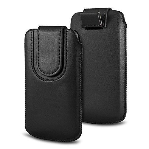 N4U Online Various Farbig Magnetisch PU Leder Zug Kippen Tab Schutzhüllen Tasche für Doogee X5S - Schwarz