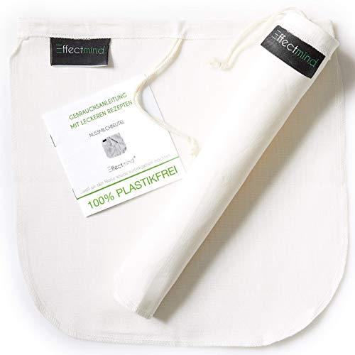 EFFECTMIND 2er Set Nussmilchbeutel [30x30 cm] 100% Hanf - Passiertuch mit Anleitung & Rezepten - Mandelmilch, Reismilch, Hafermilch selber herstellen - Käsetuch