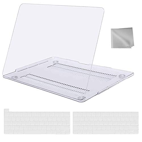 MOSISO MacBook Pro 13 inch Case 2016-2020 Release A2338 M1 A2289 A2251 A2159 A1989 A1706 A1708, Plastic Hard Shell Case&Keyboard Cover&Wipe Cloth Compatible with MacBook Pro 13 inch, Crystal Clear
